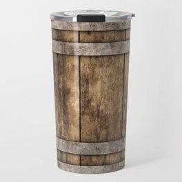 Rustic Wooden Barrel Barnhouse Planks Background Travel Mug
