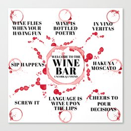 wine bar quote collection Canvas Print