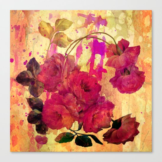 roses on abstract background Canvas Print