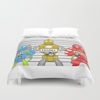 robots Duvet Covers featuring Robots by charlie usher