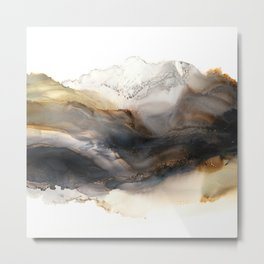 Iron Mountain - abstract landscape, watercolor, alcohol ink, brown gray neutrals Metal Print