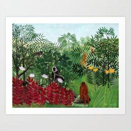 Henri Rousseau - Tropical Forest with Monkeys Art Print