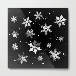 NOIR SNOWFLAKE PATTERN Metal Print