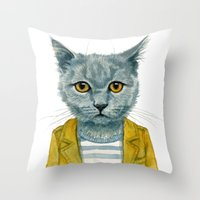 kitty Throw Pillows featuring Kitty by Leslie Evans