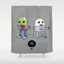 Zombie+Bot Shower Curtain
