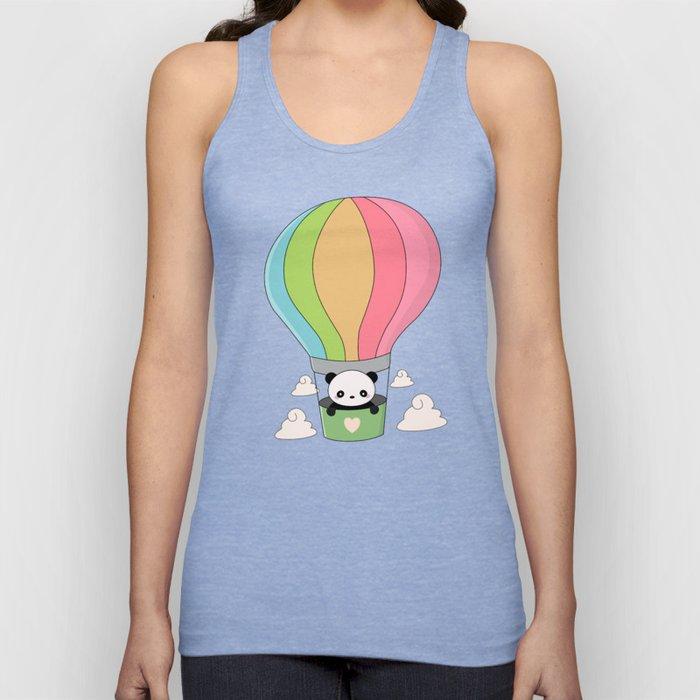 Kawaii Panda Bear Hot Air Balloon Unisex Tank Top