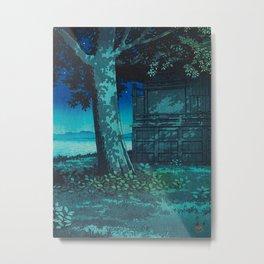 Kawase Hasui Vintage Japanese Woodblock Print Moonlight Shadows Under A Tall Tree Wooden Shrine Metal Print