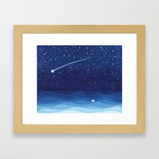 Falling star, shooting star, sailboat ocean waves blue sea Framed Art Print