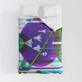 NASA Space Saturn Shuttle Retro Futuristic Explorer Blue Comforters