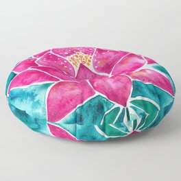 Sacred Lotus – Magenta Blossom with Turquoise Wash Floor Pillow