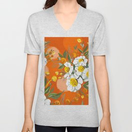 Orange Poppy Flowers Chinoiserie Unisex V-Neck