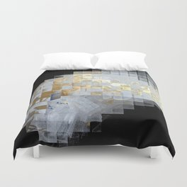Squares in Gold and Silver Duvet Cover