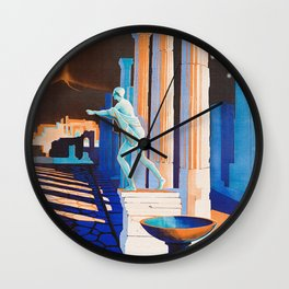 Pompei at Night - Vintage German Travel Ad Wall Clock