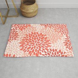 Floral Pattern, Living Coral, Pink, Floral Prints Rug