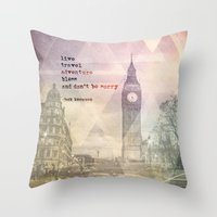 kerouac Throw Pillows featuring Jack Kerouac 1 - Live, Travel, Adventure, Bless by sammilukanphotography