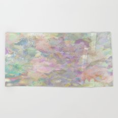 Sweet Spring Pastel Floral Abstract Beach Towel