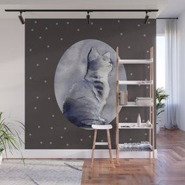 Expressive Watercolor Kitten with Polka Dots Background Wall Mural
