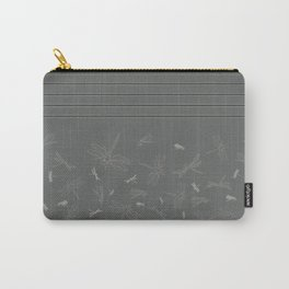Dragonfly Pattern on Warm Grey Carry-All Pouch