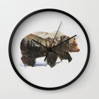 andreas preis Wall Clocks featuring Arctic Grizzly Bear by Andreas Lie