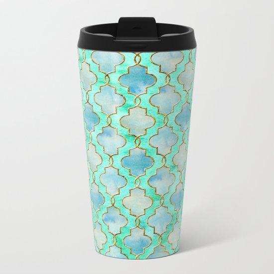 Luxury Aqua Teal Mint and Gold oriental quatrefoil pattern Metal Travel Mug