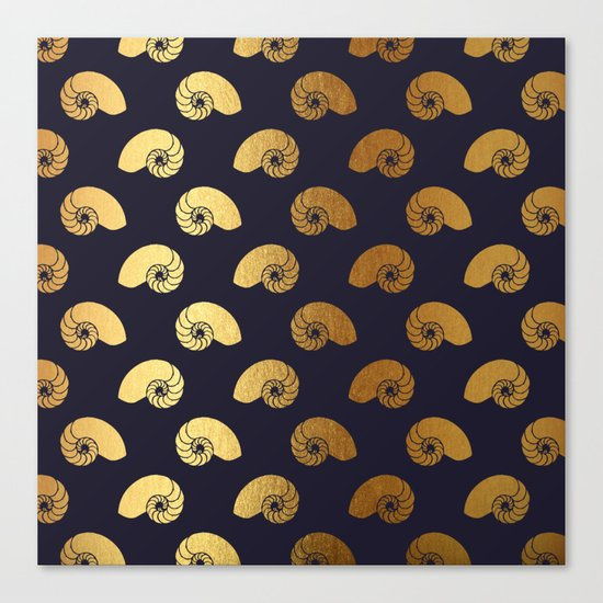 Nautical gold shell  Canvas Print