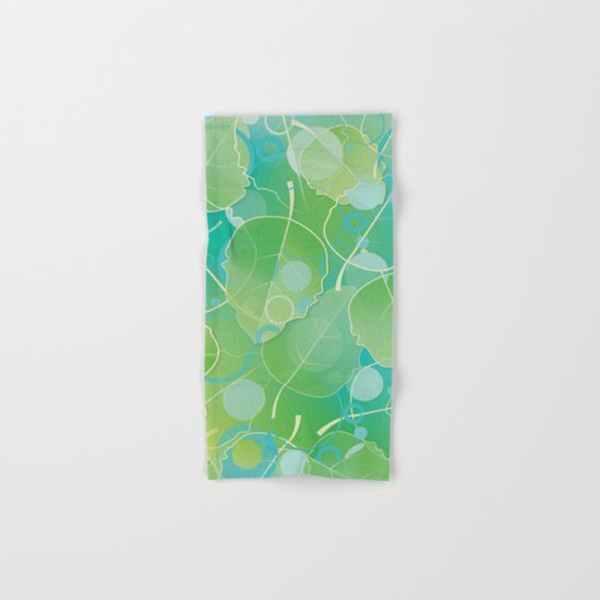 Floating Leaves Pattern I - Spring, Summer, Apple Green Hand & Bath Towel