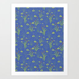 Bright Blue Pond Water With Bullrushes Art Print
