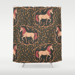 The last unicorn in a floral wreath on black background Shower Curtain