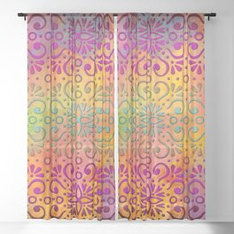 DP050-5 Colorful Moroccan pattern Sheer Curtain