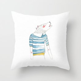 Wolf Howling Throw Pillow