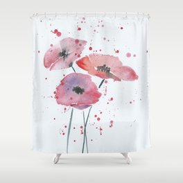 Red poppy flowers watercolor painting Shower Curtain
