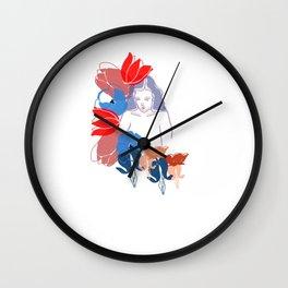 Woman In Flowers Wall Clock
