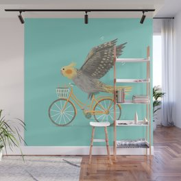 Cockatiel on a Bicycle Wall Mural