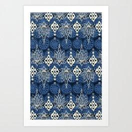 lotus diamond indigo Art Print