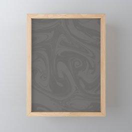 Pantone Pewter Gray Abstract Fluid Art Swirl Pattern Framed Mini Art Print