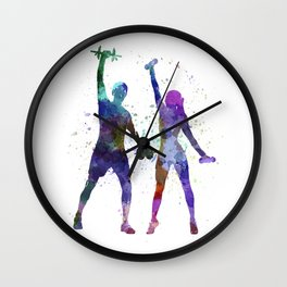 woman exercising with man coach Wall Clock