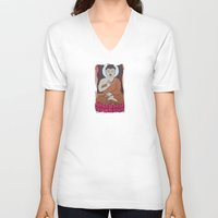 buddha V-neck T-shirts featuring Buddha     by Marjolein