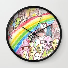 kawaii rainbow party Wall Clock