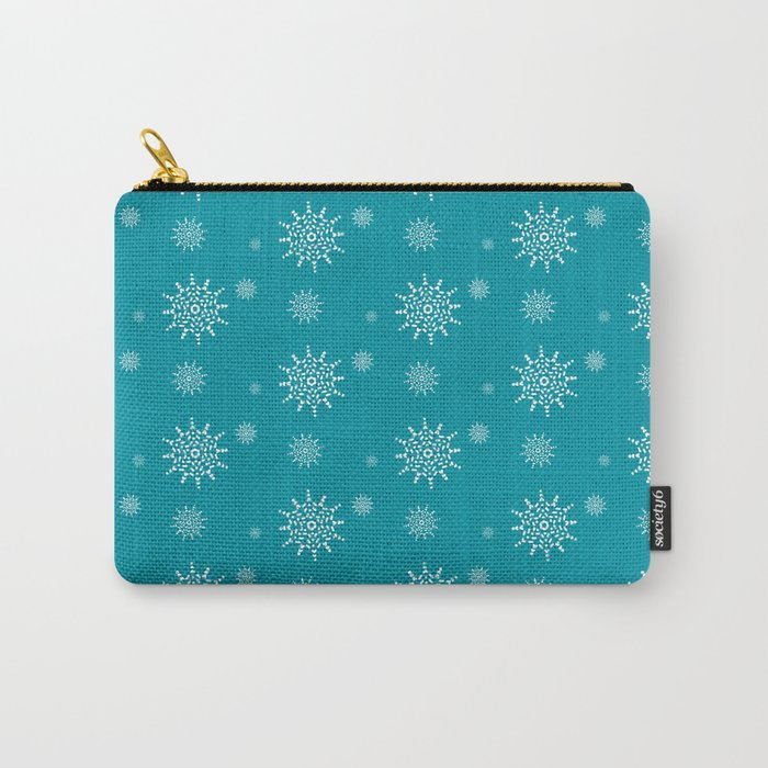 White Snowflakes on Turquoise Carry-All Pouch