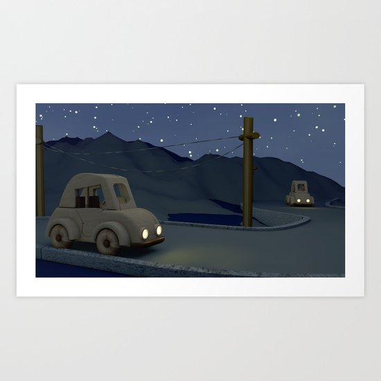 Two cars racing for the prize Art Print