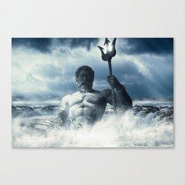 Poseidon - God of Sea Rising Canvas Print