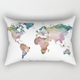 Watercolor World Map Rectangular Pillow