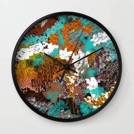 Mixed Up Block Patterns in Aqua, Golds, Browns, Naturals Wall Clock
