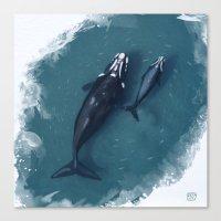 whales Canvas Prints featuring whales by Daniela Di Gennaro