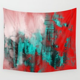 Intense Red And Blue Wall Tapestry