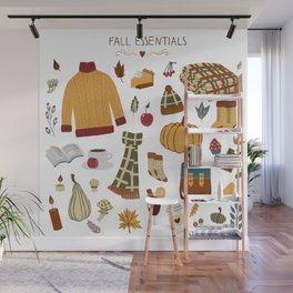 Fall Essentials Pencil Drawing Wall Mural