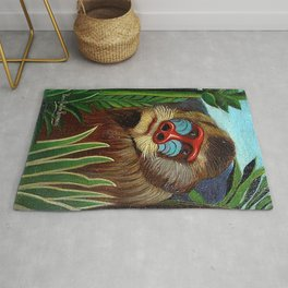 Mandrill in the Jungle By Henri Rousseau Rug