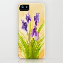 Purple Flowers in a Yellow Room iPhone Case