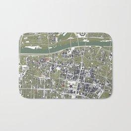 Warsaw city map engraving Bath Mat