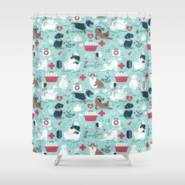 Veterinary medicine, happy and healthy friends // aqua background Shower Curtain